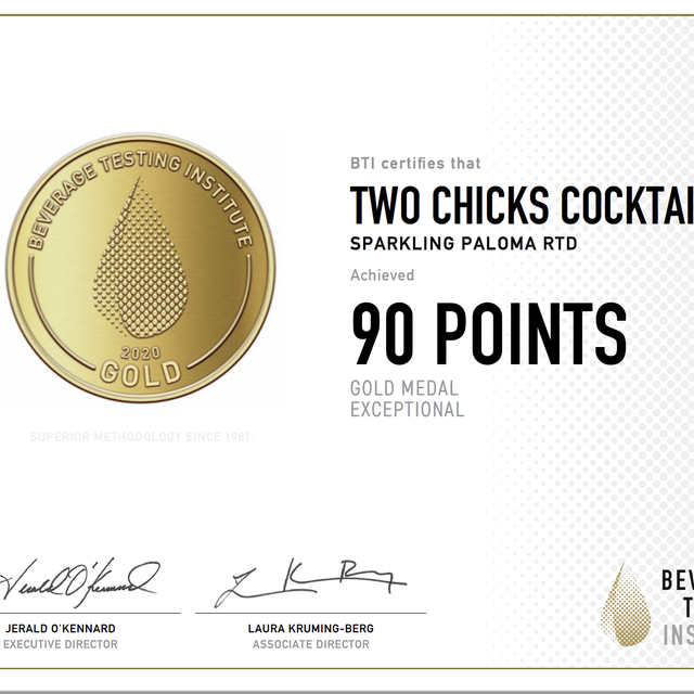 Beverage Testing Institute Awards Two Chicks Cocktails in the 2021 Tasting Awards and BTI Spirits Pack Awards | Ready-to-drink | Canned Cocktail