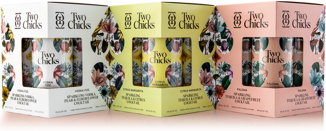 two chicks cocktails 4 packs, canned cocktails