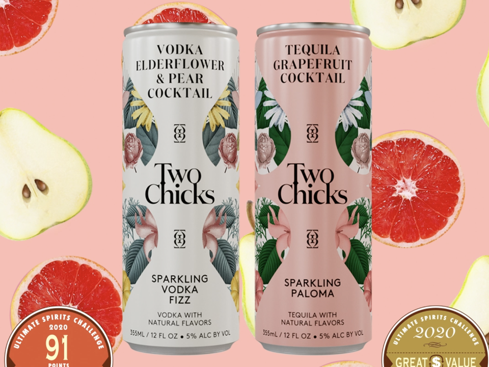 Two Chicks Sparkling Vodka Fizz and Sparkling Paloma winners at Ultimate Spirits Challenge