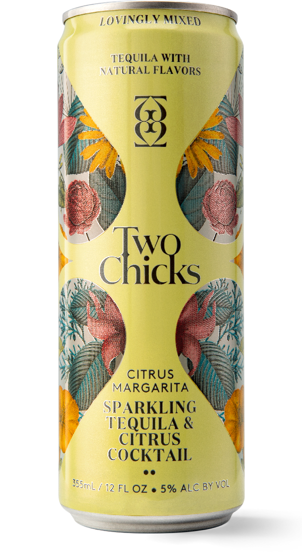 two chicks citrus margarita sparking tequila cocktail can